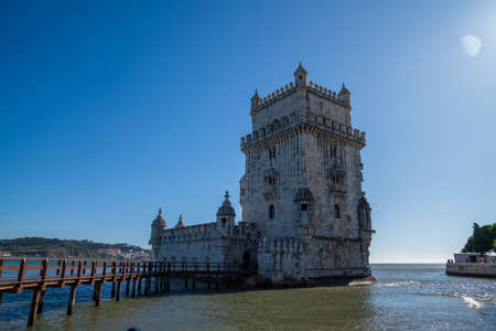 Belem Tower historical landmark in sunny day