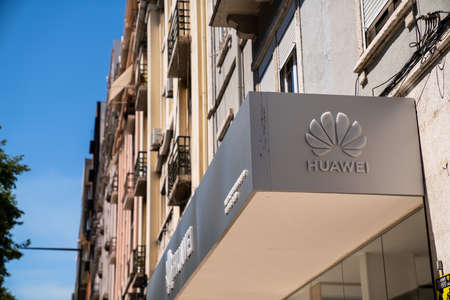 Huawei logo outside office location in Lisbon