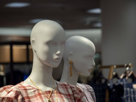 Two female mannequin posing in jewelry and blouses in department store display Imagens