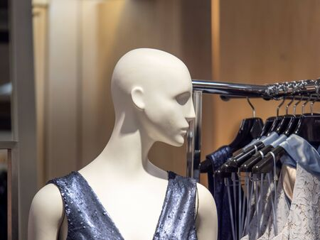 Female mannequin in dress next to clothing rack in department store display