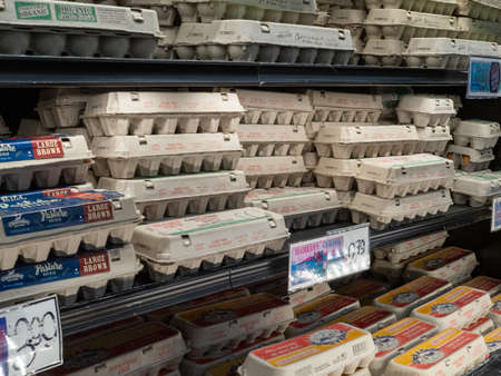 Trader Joe s eggs in refrigerated section of grocery store Sajtókép