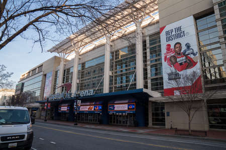 Capital One Arena entrance with advertisement of Wizards NBA basketball NBA team 新闻类图片