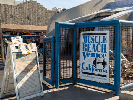 Muscle Beach Venice California weight pen entrance and information