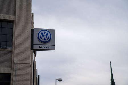 Volkswagen service station outside of dealership