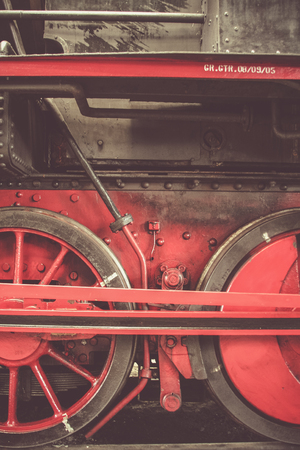 old red and black locomotive Stock Photo