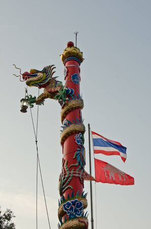 workship: Dragon and flags in a Chinese temple