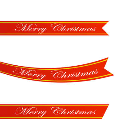 Set of three decorative realistic red ribbons with gold lines. Banner with A Merry Christmas.