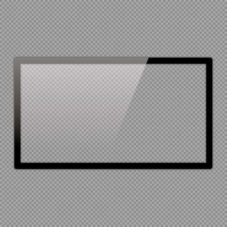 LCD monitor set illustrations. Realistic empty TV frame with reflection and transparency screen isolated.  Lcd display screen, tv digital panel plasma