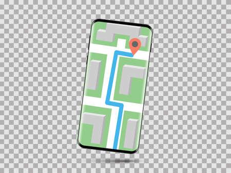 Un smartphone realista con un mapa en la pantalla aislado en el fondo transparente.