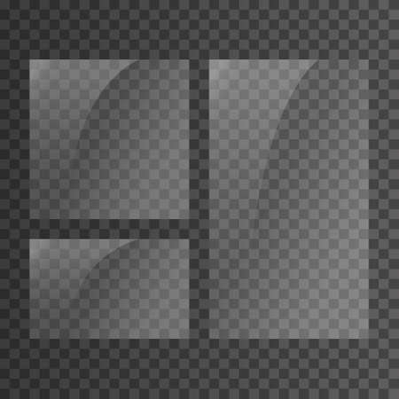 Placa de vidrio sobre fondo transparente. Vitrina de cristal transparente. Maqueta de ventana realista. Bandera de cristal rectangular reflectante.