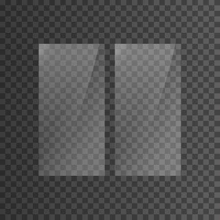 Glasplatte auf transparentem Hintergrund eingestellt. Vitrine aus Klarglas. Realistisches Fenstermodell. Vektor-Illustration Vektorgrafik