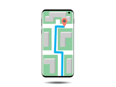 A realistic smartphone with a map on the screen isolated on the white background. Taxi app stock vector illustration.