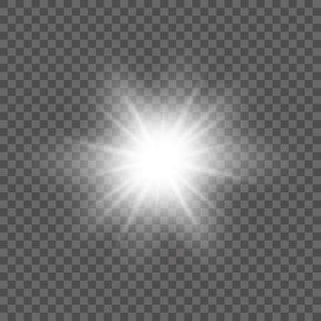 Weißes leuchtendes Licht platzte Explosion mit transparentem. Vektorillustration für kühle Effektdekoration mit Strahl funkelt. Heller Stern. Transparenter Glanzverlauf Glitzer, helle Fackel. Blende Textur.