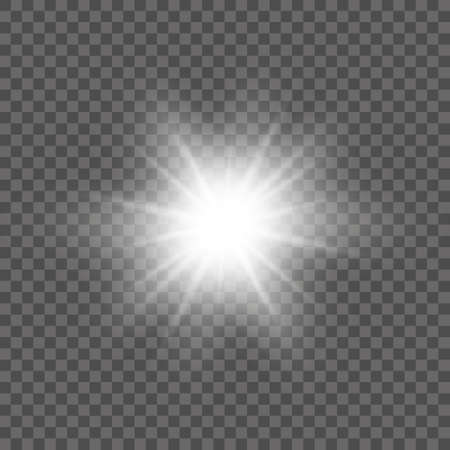 White glowing light burst explosion with transparent. Vector illustration for cool effect decoration with ray sparkles. Bright star. Transparent shine gradient glitter, bright flare. Glare texture.  イラスト・ベクター素材