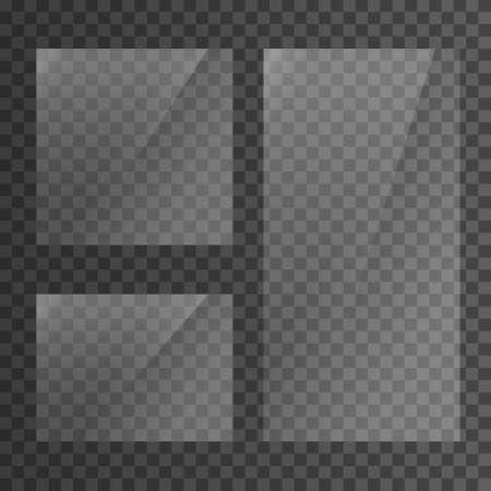 Placa de vidrio sobre fondo transparente. Vitrina de cristal transparente. Maqueta de ventana realista. Bandera de cristal rectangular reflectante. Ilustración vectorial de stock