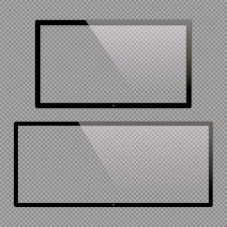 16x9 and 21x9 LCD monitor set vector illustrations. Realistic empty TV frame with reflection and transparency screen isolated.  Lcd display screen, tv digital panel plasma  イラスト・ベクター素材