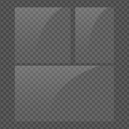 Square, vertical and 16x9 panel. Glass plate set on transparent background. Clear glass showcase. Realistic window mockup. Reflecting rectangle glass banner. Stock vector illustration