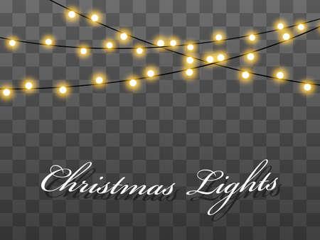 Lampadine isolate su sfondo trasparente. Stringa di filo di lucine dell'albero di Natale. Lampade per decorazioni per matrimoni o feste, Capodanno. Mazzi di luci stringa di lavagna.