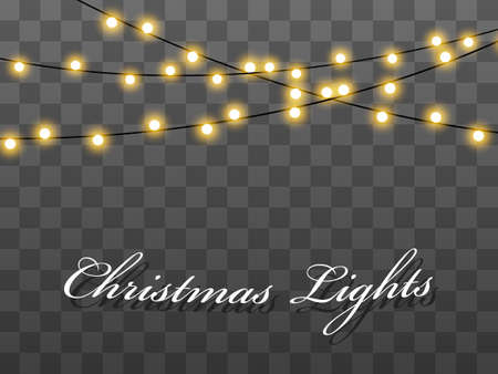 Lights bulbs isolated on transparent background. Christmas tree fairy lights wire string. Wedding or Party, New Year decor lamps. Chalkboard string lights bunches.