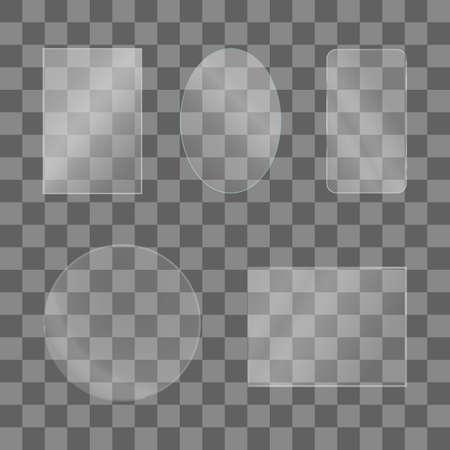 Ensemble de texture de plaques de verre brillant. Vitrine en verre clair sur fond transparent. Fenêtre réaliste, film protecteur pour téléphone, cercle d'objectif, miroir de maquillage, cadre photo. Illustration vectorielle stock. Vecteurs
