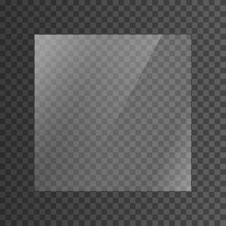 Die Textur von Glas, Spiegeln, Fenstern. Quadratische Glasplatte. Lichteffekt für ein Bild oder einen Spiegel. Schöne realistische Reflexion. Das Innere des Hauses. Vektorgrafik