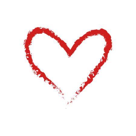 Hand drawn vector Love Heart shape graphic element. Sketch red valentine's day or wedding paint frame Ilustração Vetorial