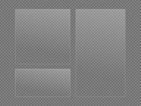 Spiegelreflexionseffekt, Vektorglasfensterbeschaffenheit png, glänzende transparente Plastikplatte lokalisiert auf transparentem Hintergrund. Stock Vektor