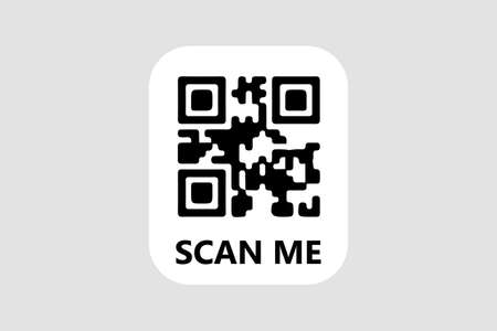 QR Code icon Template with Scan Me words writen on it. For package, web, banner, post, t-shirt. Stock vector image illustration.