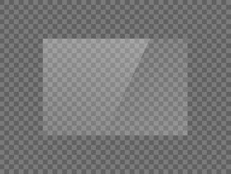 Vektorspiegelreflexionseffektbeschaffenheit für Glas-, Plastik- oder Acrylfenster. png Rechteckform 3 x 2 glänzend, Glanz, Licht, Blendung, klare Platte Vektorgrafik