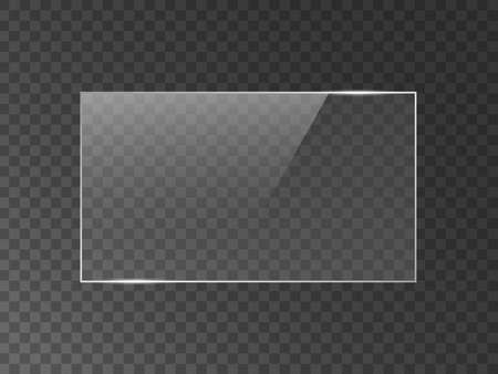 Texture d'effet de réflexion de miroir vectoriel pour fenêtre en verre, en plastique ou en acrylique. png forme rectangle 16 x 9 brillant, éclat, lumière, éblouissement, plaque transparente