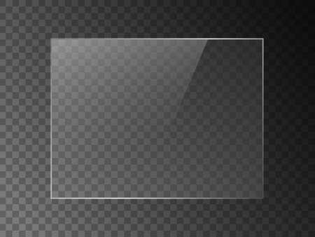 Texture d'effet de réflexion de miroir vectoriel pour fenêtre en verre, en plastique ou en acrylique. png forme rectangle 4 x 3 brillant, éclat, lumière, éblouissement, plaque transparente