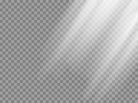 Shining sun rays vector illustration. Sunlight glowing png, eps, ai, svg effect. White beam sunrays sky background.