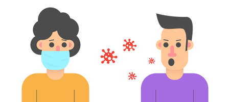 Coronavirus quarantine violation penalties. Social distanting. Man in protective medical mask and without. Virus, bacteria and microorganisms. COVID-19. Flat vector. Ilustración de vector