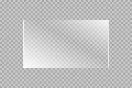 The texture of rectangle glass plate, mirror, windows. Light effect for a picture or a mirror. Beautiful realistic reflection stock vector