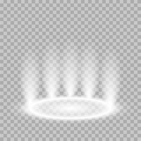 Hologram teleport light effect. Magic circle time travel portal glow vector effect. Podium spotlight stock vector.