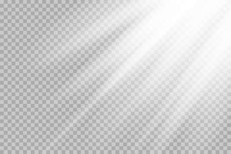 Shining sun glare rays, lens flare vector illustration. Sunlight glowing png effect. White beam sunrays sky background Vettoriali