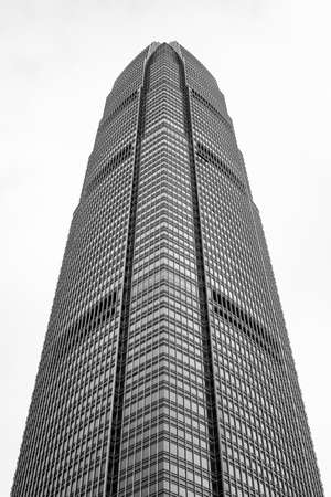Hong Kong business center with alone building Black & White tone Stock Photo