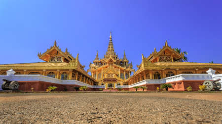 The palace of the king in Myanmar in the past. Kambawzathardi golden palace. Kambodza Thadi Palace (Palace of Bayinnaung), Kanbawzathadi Palace in Bago, Myanmar Imagens