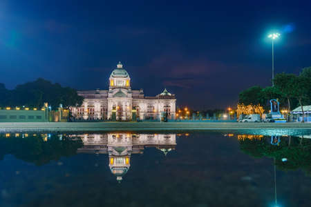 The Ananta Samakhom Throne Hall (Thailand white house) in Royal Dusit Palace at twilight, Bangkok Thailand with water reflection Editorial