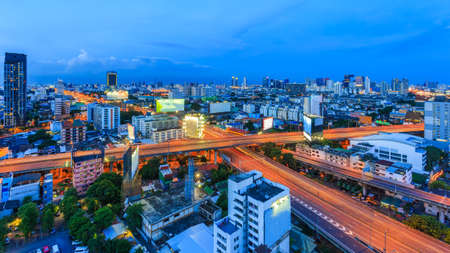 City Skyline, X-cross road Bangkok, Thailand Bangkok is the capital city of Thailand and the most populous city in the country. Aerial view interchange of a city, Shot from Airplane at twilight.