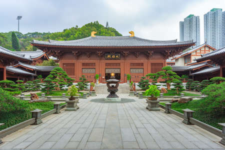 Colin Monastery hong kong, Tian tan buddha the world's tallest outdoor seated bronze buddha located in hong kong Standard-Bild