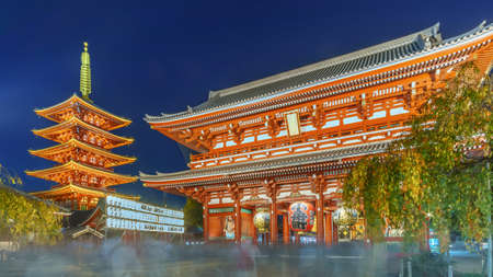 The hozomon gate(Kaminarimon gate, Thunder Gate) in front of the five stories pagoda at Asakusa Sensoji buddhist temple in Asakusa Kannon Temple, Tokyo Japan at twillight or night