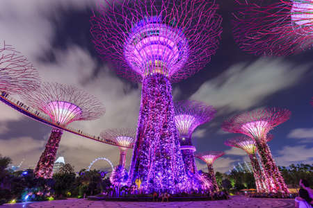 Singapore City, Singapore - May 22, 2014: Supertree grove in Gardens by the Bay and Marina Bay Sands in Singapore under moving clouds in blue sky at night