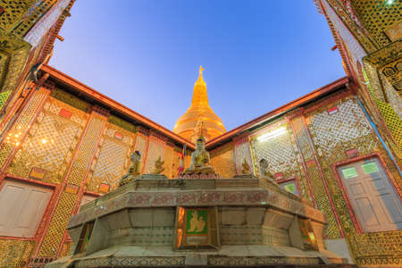 Golden stupas on Sagaing hill Sagaing City and Mountains surrounded by trees st twilight or sunset , The Old City of Religion and Culture and land of pagoda Mandalay Myanmar Burma