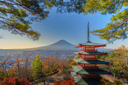Mount Fuji top view and Chureito Pagoda, Autumn in Mount Fuji, Japan, Colorful Autumn Season and Mountain Fuji with red leaves at Pagoda is in Arakura Sengen Shrine Kawaguchiko, Japan. Editorial