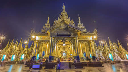Yangon, Myanmar – 1112014 One of place in The Shwedagon Pagoda (Shwedagon Zedi Daw) or the Great Dagon Pagoda and the Golden Pagoda, sacred place and tourist attraction at Night, Yangon, Myanmar