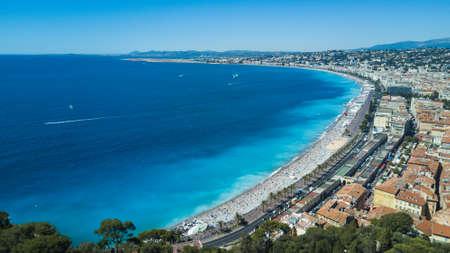 Vista de verano de Baie Danger en Niza, Cote Dazur, en el sur de Francia. Foto de archivo