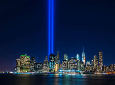 Clear view from Brooklyn of 911 memorial tribute light in Manhattan, New York City