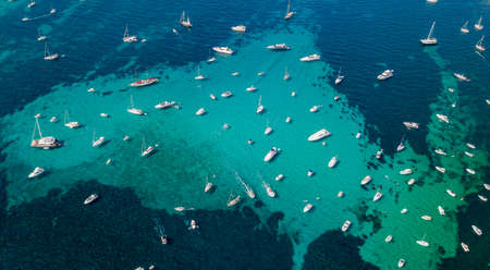Overhead aerial drone view of yachts in mediterranean sea in summer sunny day near Nice, cote dazur, south France
