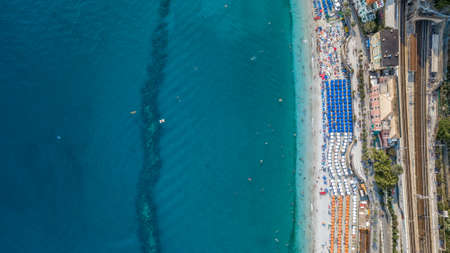 Overhead aerial view of Monterosso al Mare, Cinque Terre, Italy